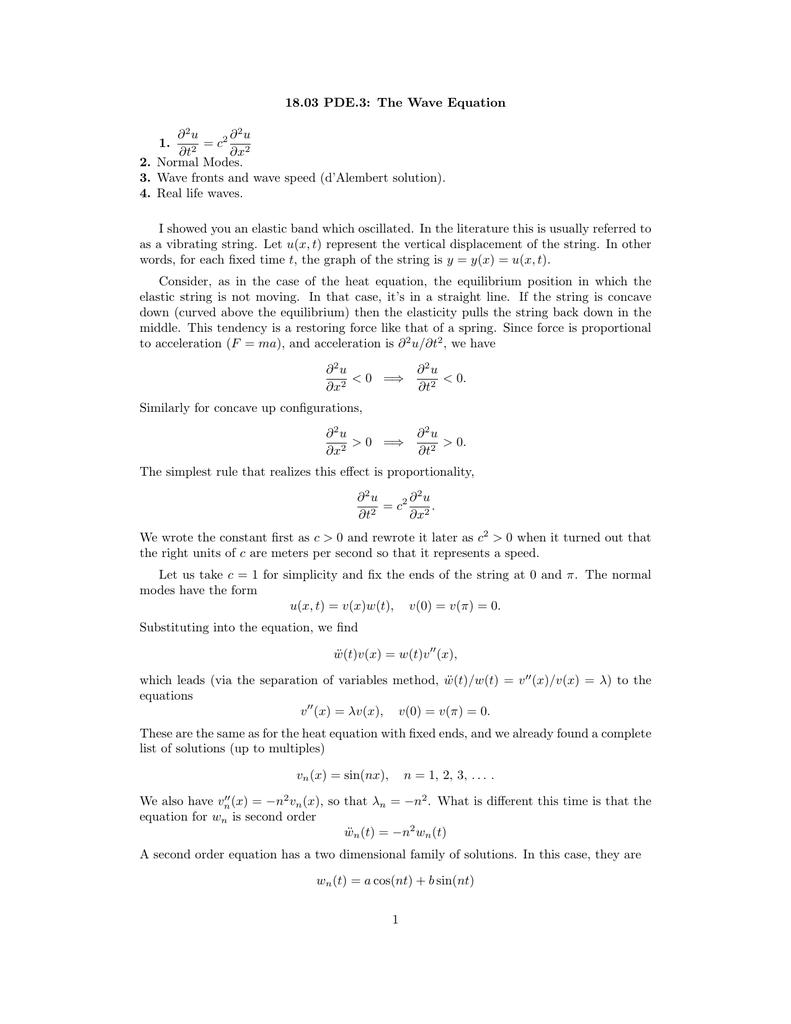 18 03 PDE 3: The Wave Equation ∂ u 1
