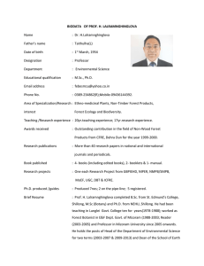 BIODATA   OF PROF. H. LALRAMNGHINGLOVA Name  :  Dr. H.Lalramnghinglova
