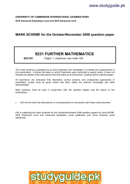 www.studyguide.pk 9231 FURTHER MATHEMATICS