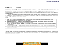 www.studyguide.pk Syllabus  AS Biology
