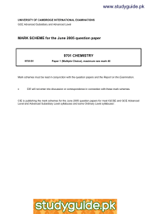 www.studyguide.pk  MARK SCHEME for the June 2005 question paper 9701 CHEMISTRY