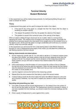 Worksheets Displacement And Velocity Worksheet terminal velocity student worksheet www xtremepapers com studyguide pk worksheet
