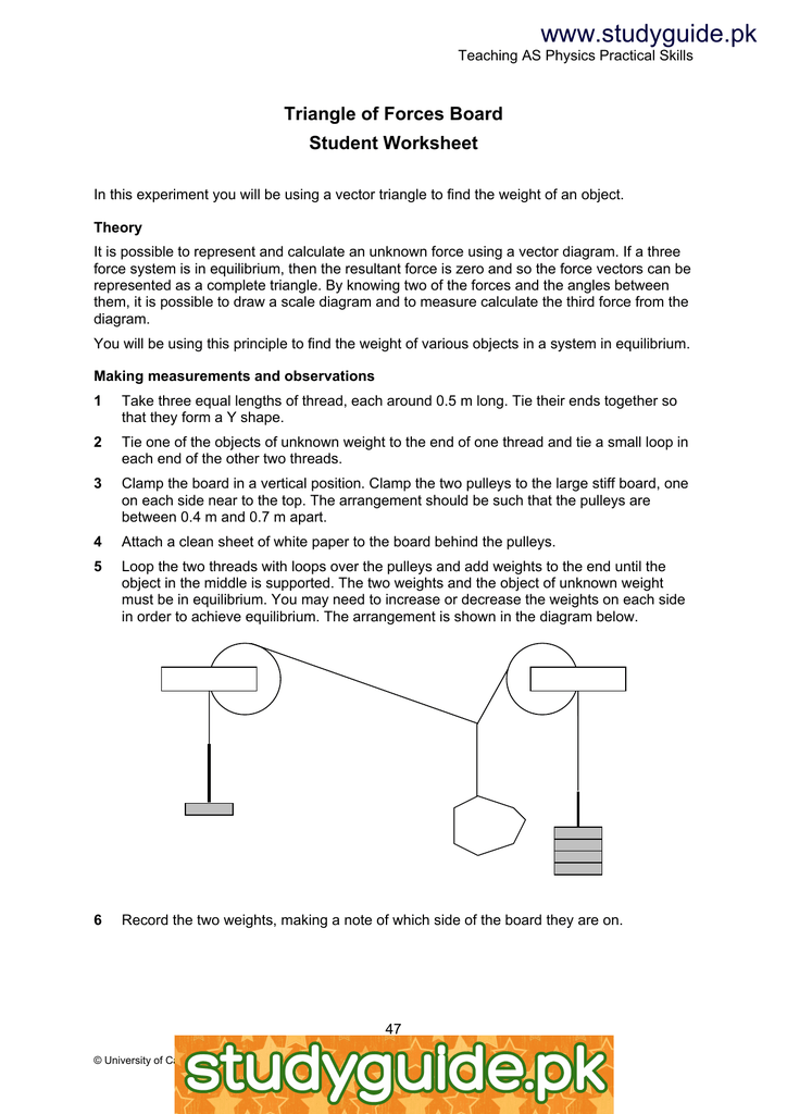 Studyguide Triangle Of Forces Board Student Worksheet