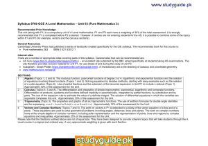 www.studyguide.pk Syllabus 9709 GCE A Level Mathematics – Unit 03 (Pure...