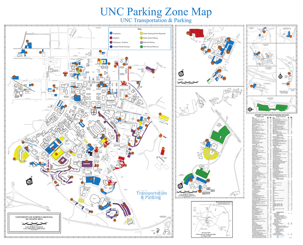 UNC Parking Zone Map UNC Transportation & Parking