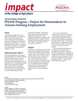 impact PHASE Program—Project for Homemakers in Arizona Seeking Employment