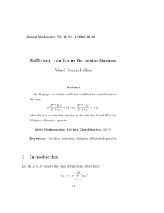 Sufficient conditions for n-starlikeness Viorel Cosmin Holho¸s