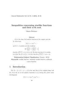 Inequalities concerning starlike functions and their n-th root Maria Pettineo