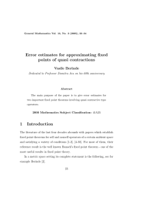 Error estimates for approximating fixed points of quasi contractions Vasile Berinde