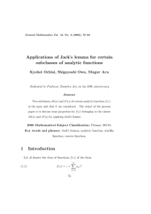 Applications of Jack s lemma for certain subclasses of analytic functions