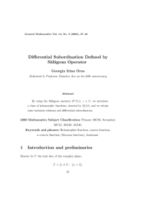 Differential Subordination Defined by S˘ al˘ agean Operator