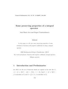 Some preserving properties of a integral operator Ana-Maria Acu and Eugen Constantinescu