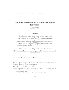 On some subclasses of starlike and convex functions Alina Totoi