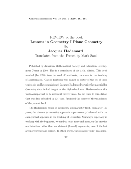REVIEW of the book Lessons in Geometry I Plane Geometry by Jacques Hadamard