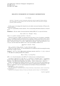 15 RELATIVE INCREMENTS OF PEARSON DISTRIBUTIONS Acta Mathematica Academiae Paedagogicae Nyregyhaziensis (1999), 45{54