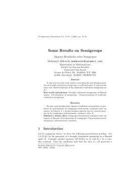 Some Results on Semigroups Algunos Resultados sobre Semigrupos Mohamed Akkouchi ()