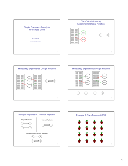 Two-Color Microarray Experimental Design Notation Simple Examples of Analysis for a Single Gene