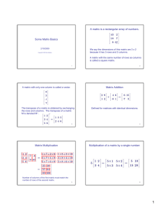 A matrix is a rectangular array of numbers. Some Matrix Basics
