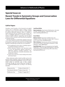 Special Issue on Recent Trends in Symmetry Groups and Conservation