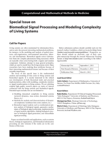Special Issue on Biomedical Signal Processing and Modeling Complexity of Living Systems
