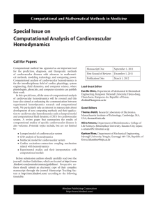 Special Issue on Computational Analysis of Cardiovascular Hemodynamics