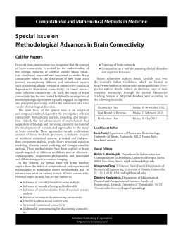 Special Issue on Methodological Advances in Brain Connectivity Call for Papers