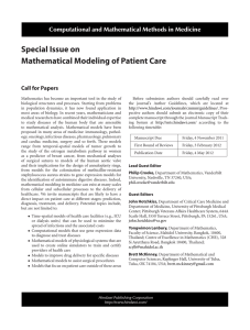 Special Issue on Mathematical Modeling of Patient Care Call for Papers