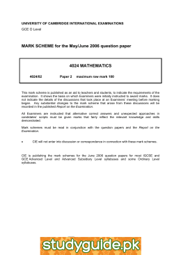MARK SCHEME for the May/June 2006 question paper  4024 MATHEMATICS
