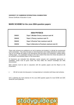 Physics 0625 paper 3 version 2 mark scheme may jun 2013.