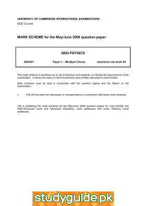 MARK SCHEME for the May/June 2006 question paper  5054 PHYSICS