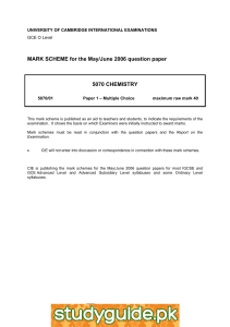 MARK SCHEME for the May/June 2006 question paper  5070 CHEMISTRY