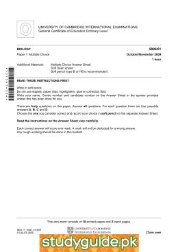UNIVERSITY OF CAMBRIDGE INTERNATIONAL EXAMINATIONS General Certificate of Education Ordinary Level  5090/01