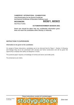 important notice woodwork 6030 gce o level for examination in 2008 rh studylib net XtremePapers O Level O Level Chemistry Notes