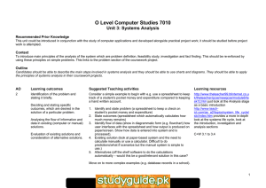 O Level Computer Studies 7010 Unit 3: Systems Analysis