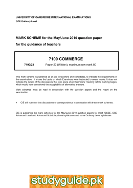 7100 COMMERCE  MARK SCHEME for the May/June 2010 question paper