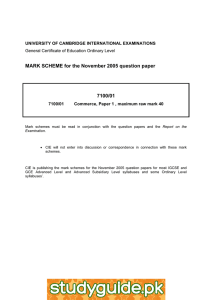 MARK SCHEME for the November 2005 question paper 7100/01