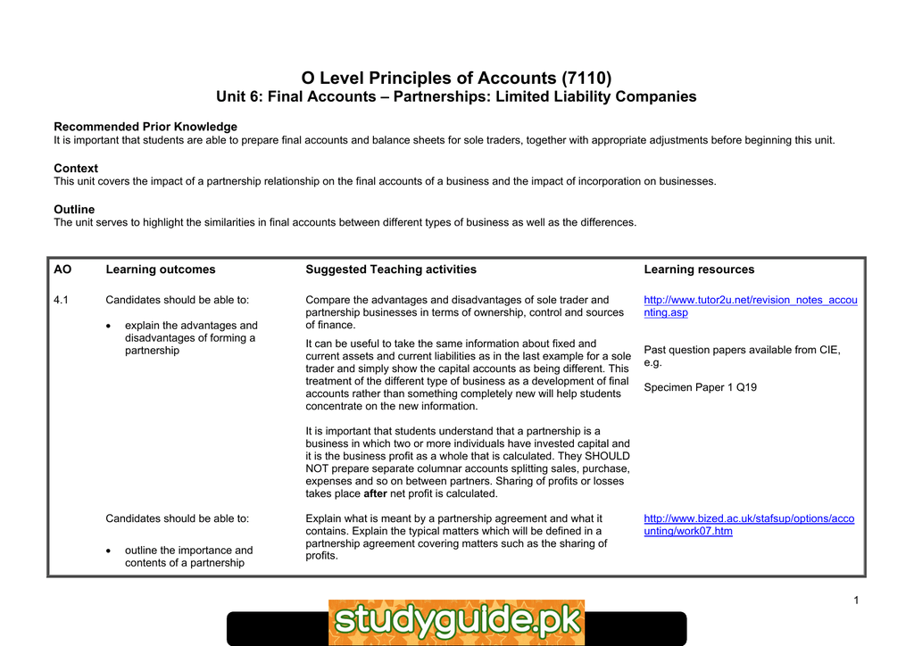 O Level Principles Of Accounts 7110