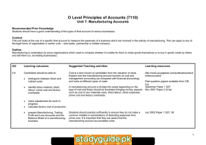 O Level Principles of Accounts (7110) Unit 7: Manufacturing Accounts