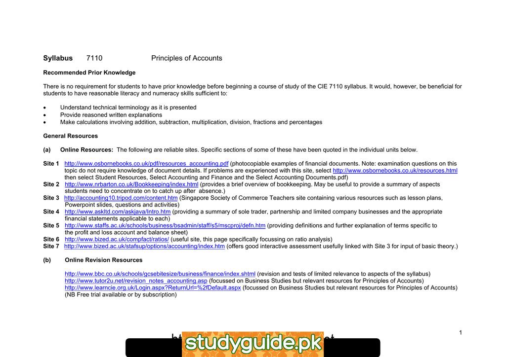 Syllabus 7110 Principles of