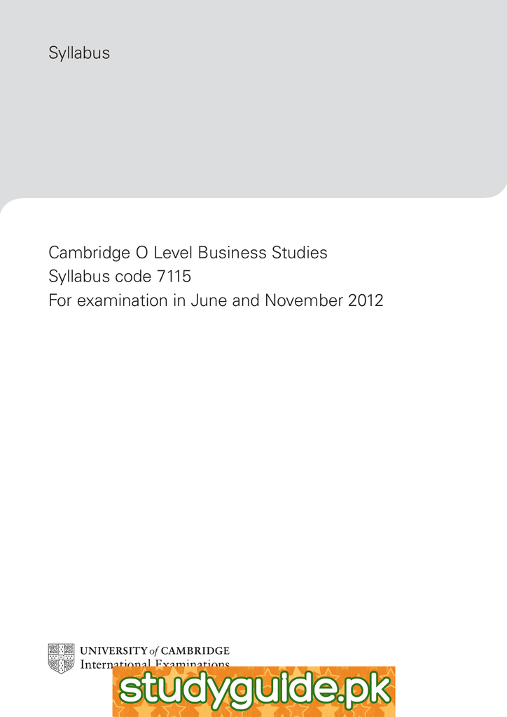 Syllabus cambridge o level business studies syllabus code 7115 fandeluxe Choice Image