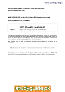 www.studyguide.pk 8685 SPANISH LANGUAGE