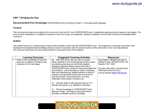 www.studyguide.pk UNIT 1 Recommended Prior Knowledge Context
