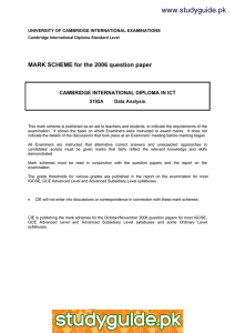 www.studyguide.pk MARK SCHEME for the 2006 question paper