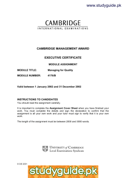 www.studyguide.pk CAMBRIDGE MANAGEMENT AWARD EXECUTIVE CERTIFICATE