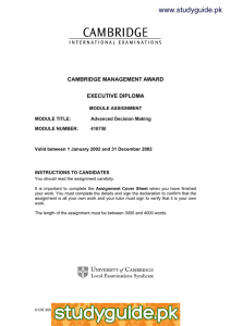 www.studyguide.pk CAMBRIDGE MANAGEMENT AWARD EXECUTIVE DIPLOMA