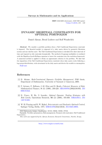 DYNAMIC SHORTFALL CONSTRAINTS FOR OPTIMAL PORTFOLIOS Surveys in Mathematics and its Applications