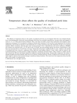 Temperature abuse affects the quality of irradiated pork loins MEAT SCIENCE M.J. Zhu