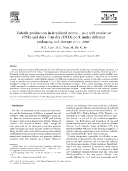 Volatile production in irradiated normal, pale soft exudative