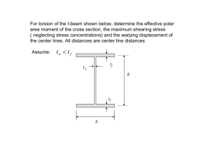 For torsion of the I-beam shown below, determine the effective... area moment of the cross section, the maximum shearing stress
