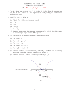 Homework for Math 151H Professor: Frank Sottile Due Thursday, 7 September 2006